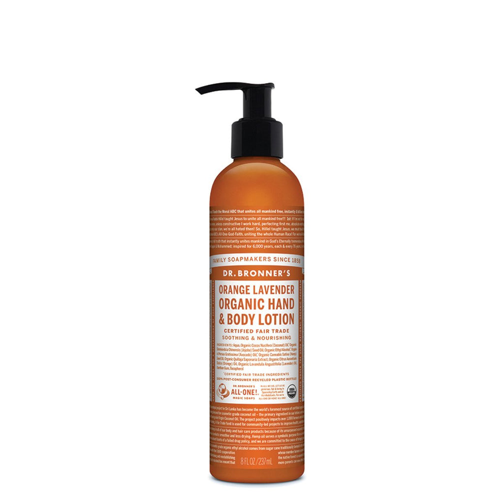 Dr Bronner's Organic Hand & Body Lotion Orange Lavender 237ml - Strive Organic