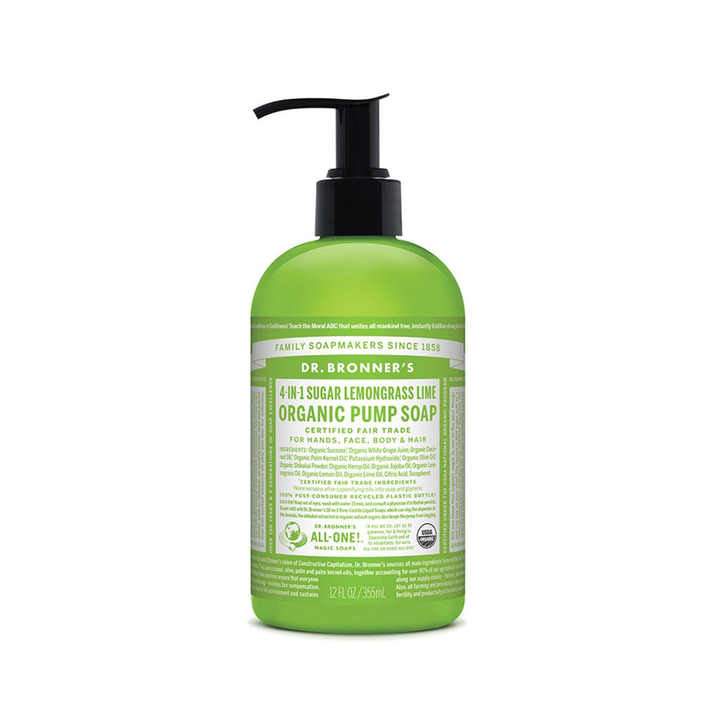 Dr Bronner's Organic Pump Soap (4 in 1) Lemongrass Lime 355ml - Strive Organic