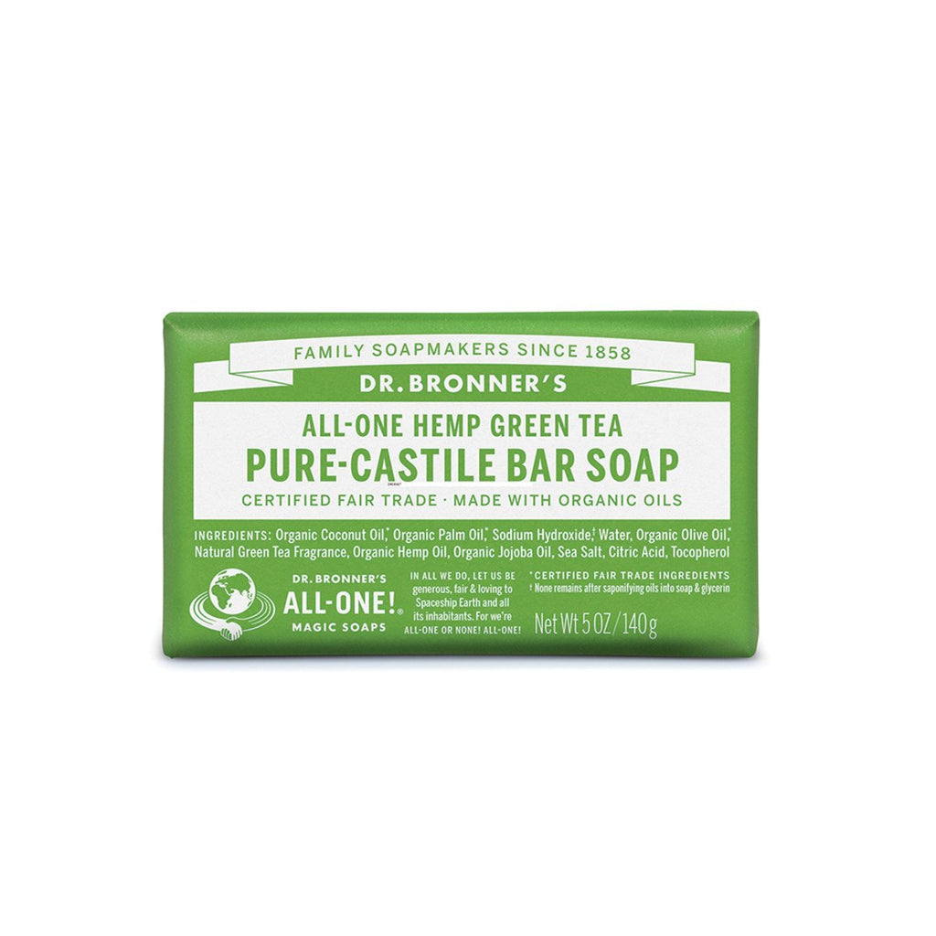Dr Bronner's Pure-Castile Bar Soap Green Tea 140g - Strive Organic