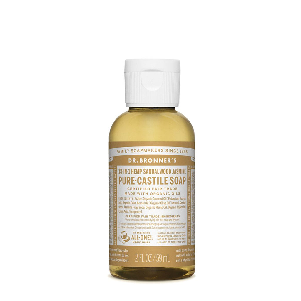 Dr Bronner's Pure-Castile Soap Liquid Sandalwood Jasmine 59ml - Strive Organic