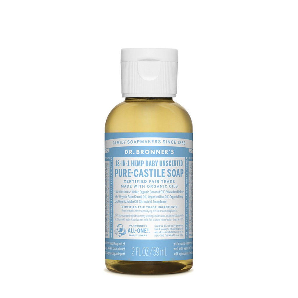 Dr Bronner's Pure-Castile Soap Liquid Baby Unscented 59ml - Strive Organic