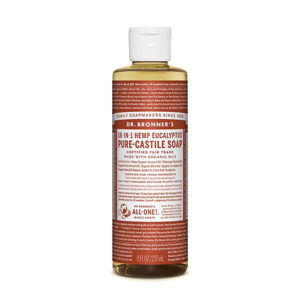 Dr Bronner's Pure-Castile Soap Liquid Eucalyptus 237ml - Strive Organic