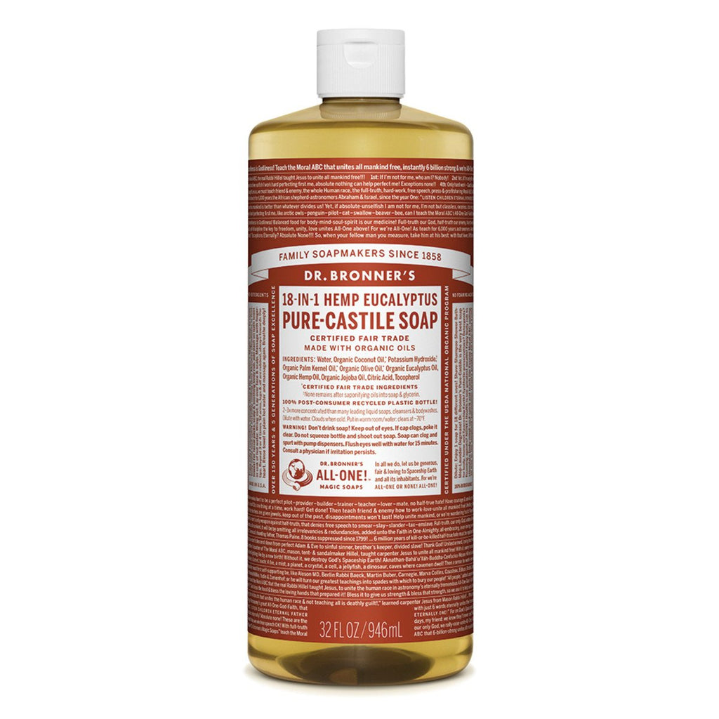 Dr Bronner's Pure-Castile Soap Liquid Eucalyptus 946ml - Strive Organic