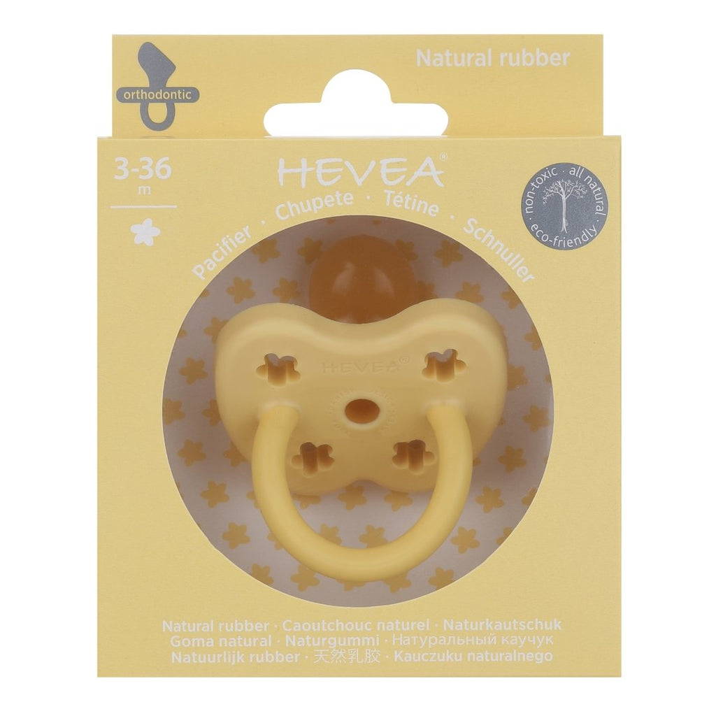 Hevea Coloured Natural Rubber Orthodontic Pacifier (Banana) 3-36 months - Strive Organic