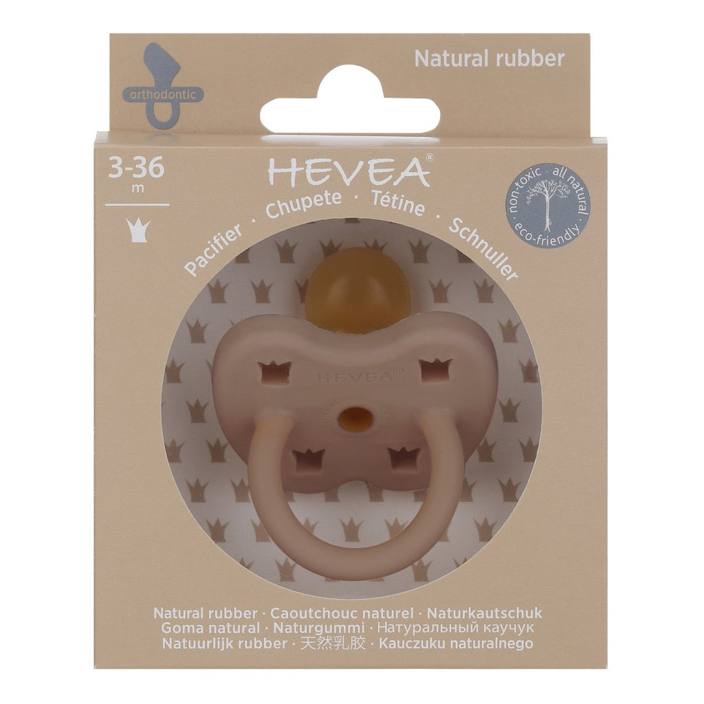 Hevea Coloured Natural Rubber Orthodontic Pacifier (Fudge) 3-36 months - Strive Organic