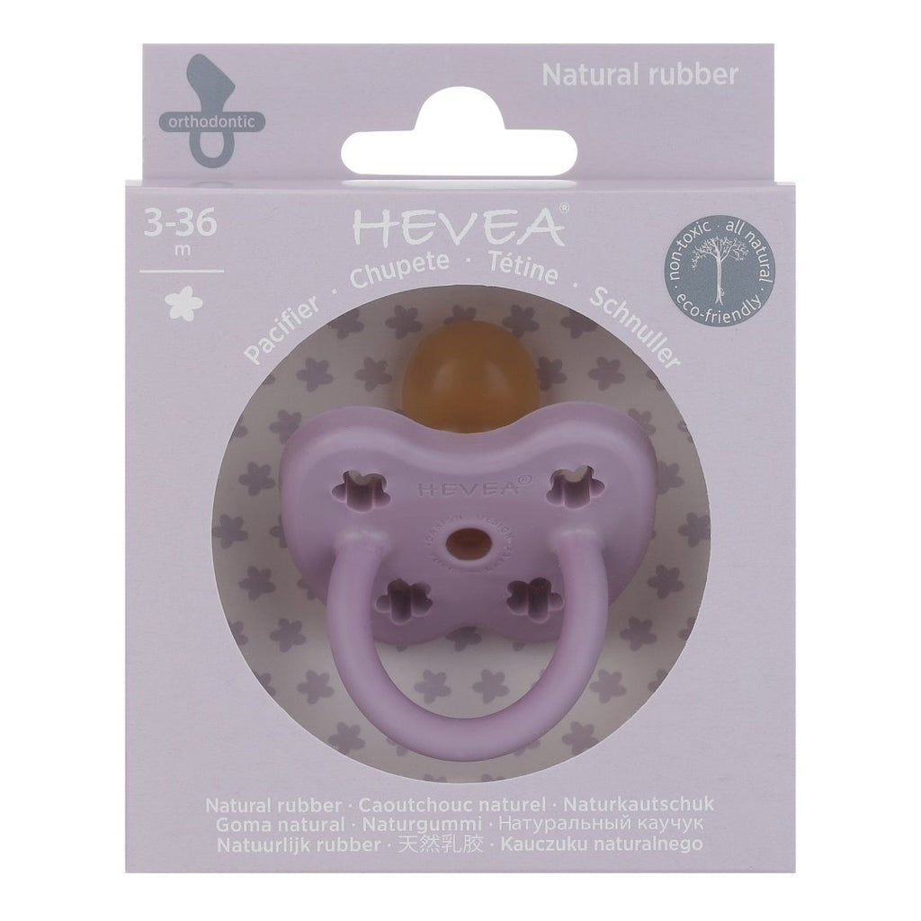 Hevea Coloured Natural Rubber Orthodontic Pacifier (Lavender) 3-36 months - Strive Organic