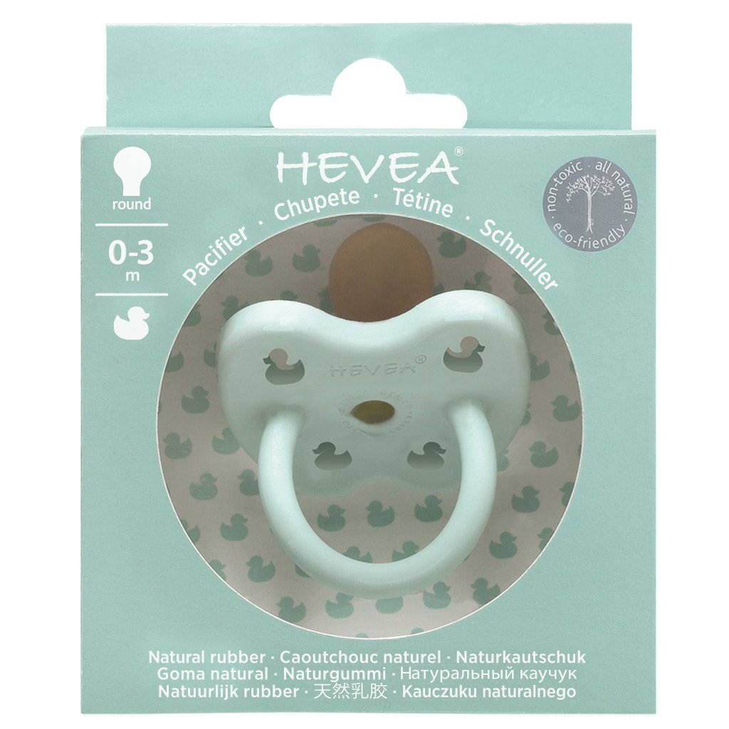 Hevea Coloured Natural Rubber Round Pacifier (Mellow Mint) 0-3 months - Strive Organic