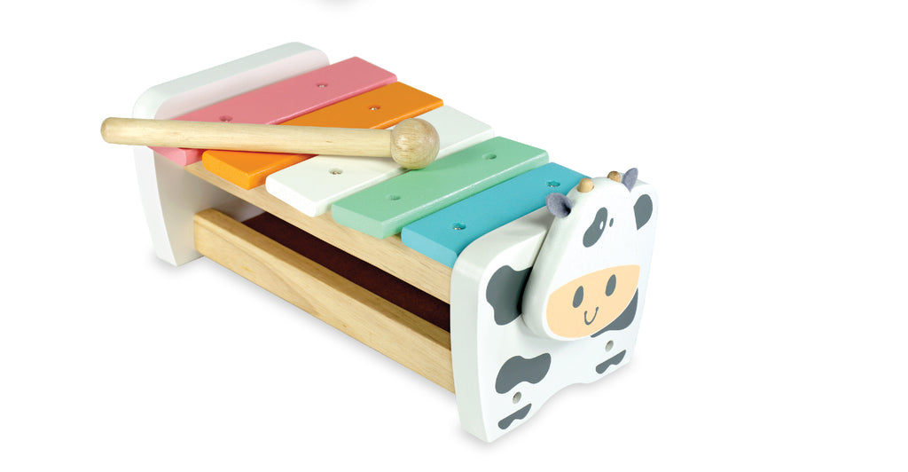 I'm Toy Cow Xylophone Bench - Pastel