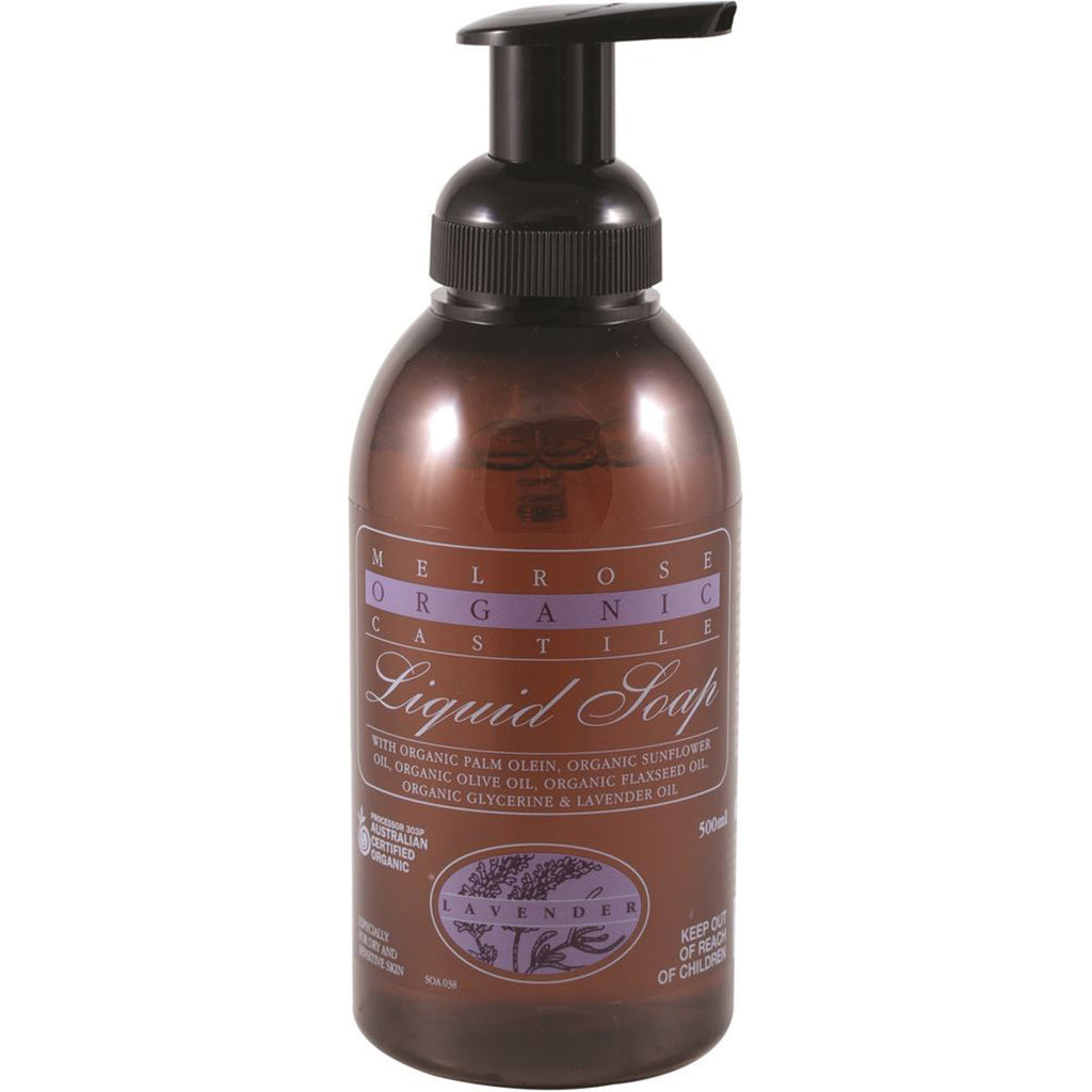 Melrose Organic Castile Liquid Soap Lavender Pump 500ml