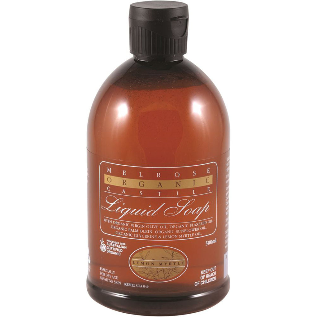 Melrose Organic Castile Liquid Soap Lemon Myrtle Refill 500ml