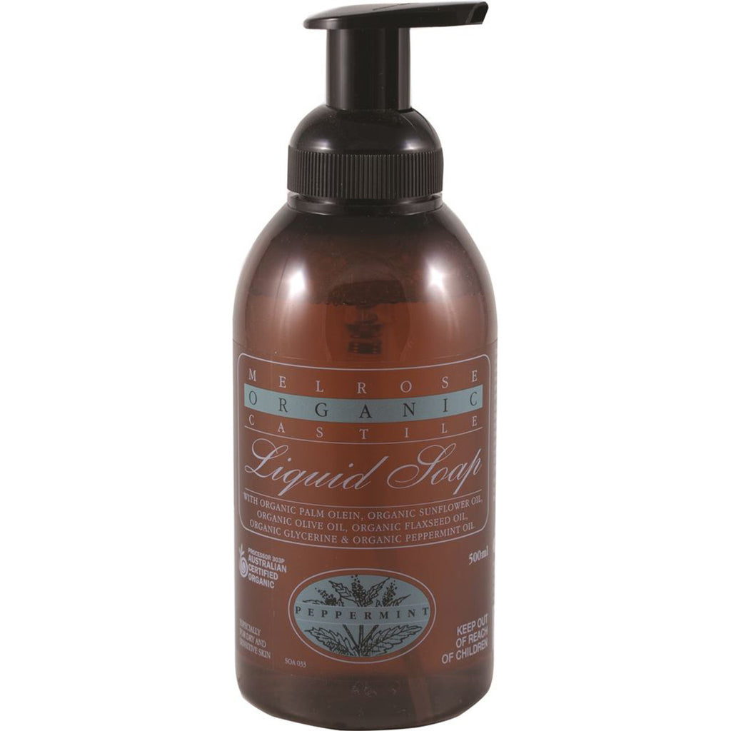 Melrose Organic Castile Liquid Soap Peppermint Pump 500ml