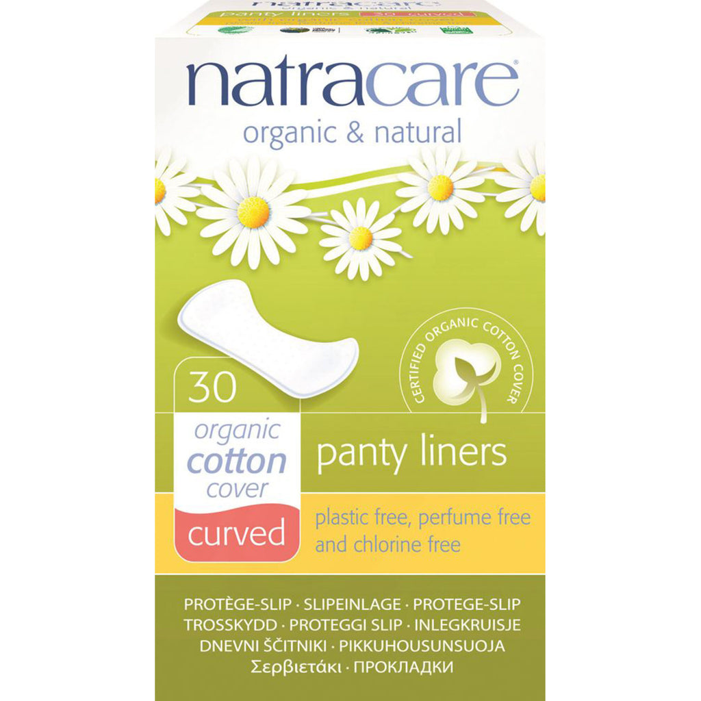 Natracare Panty Liners Curved with Organic Cotton Cover 30 Pack