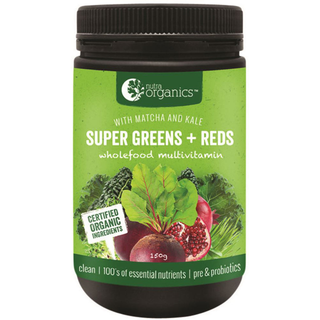 Nutra Organics Super Greens + Reds 150g Powder