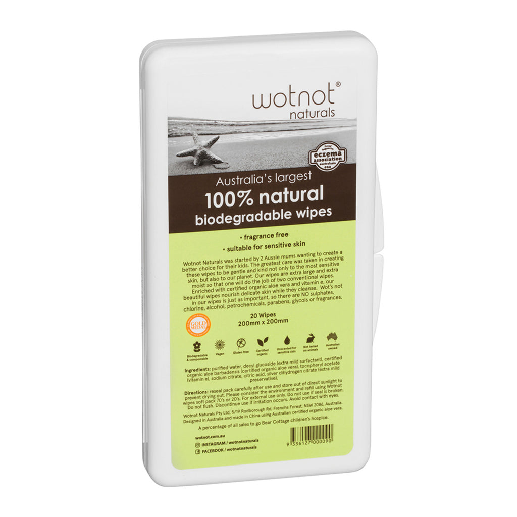 Wotnot Baby Wipes - 100% Natural (20 Wipes) Travel Hard Case