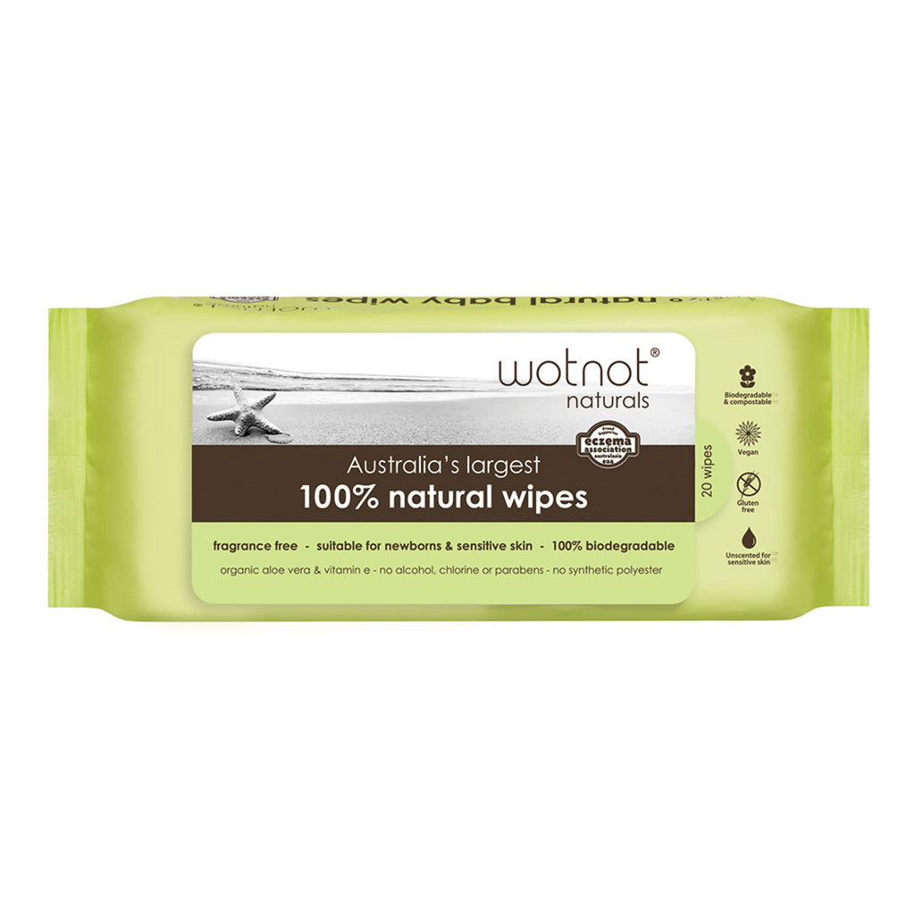Wotnot Baby Wipes - 100% Natural (20 Wipes) Travel Hard Case Refill