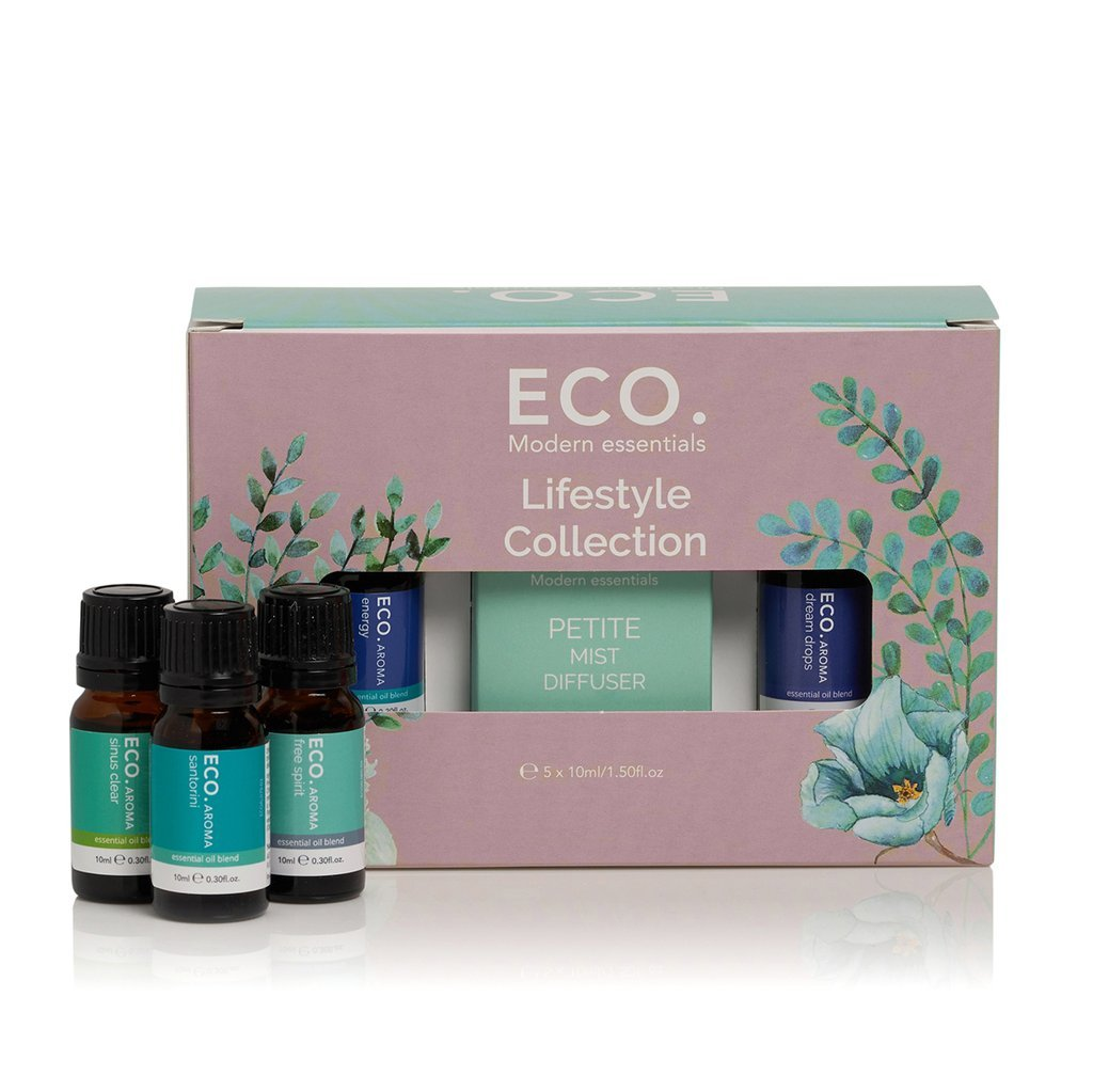Eco Lifestyle Collection Essential Oil Blends 10ml (5 Pack with Petite Diffuser) - Strive Organic