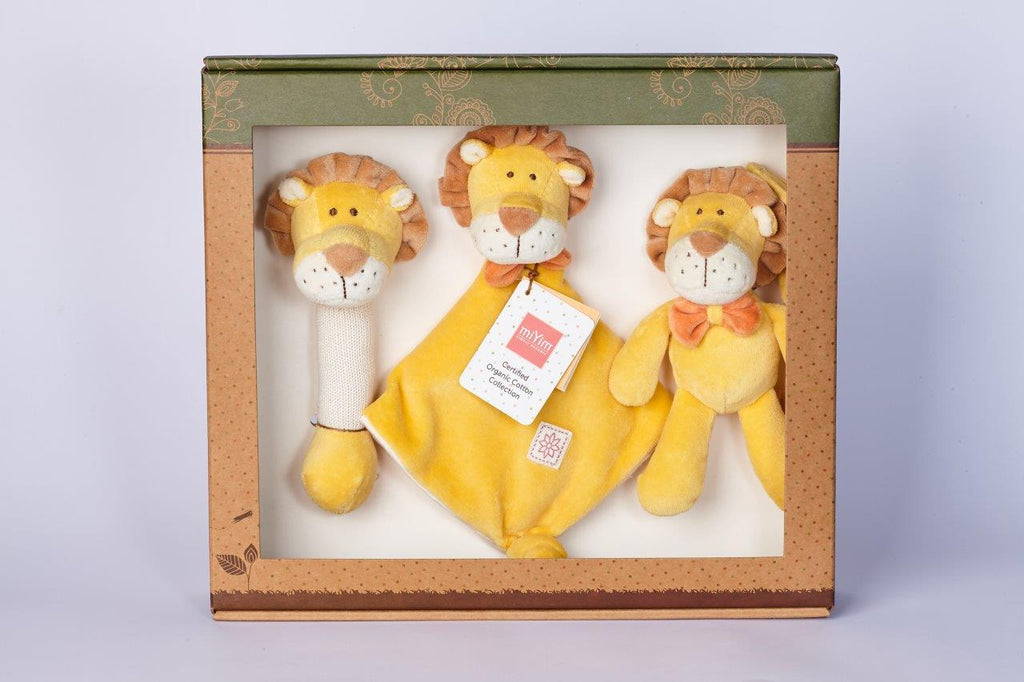 MiYim Gift Set (Rattle, Lovie and Stroller Toy) Lion