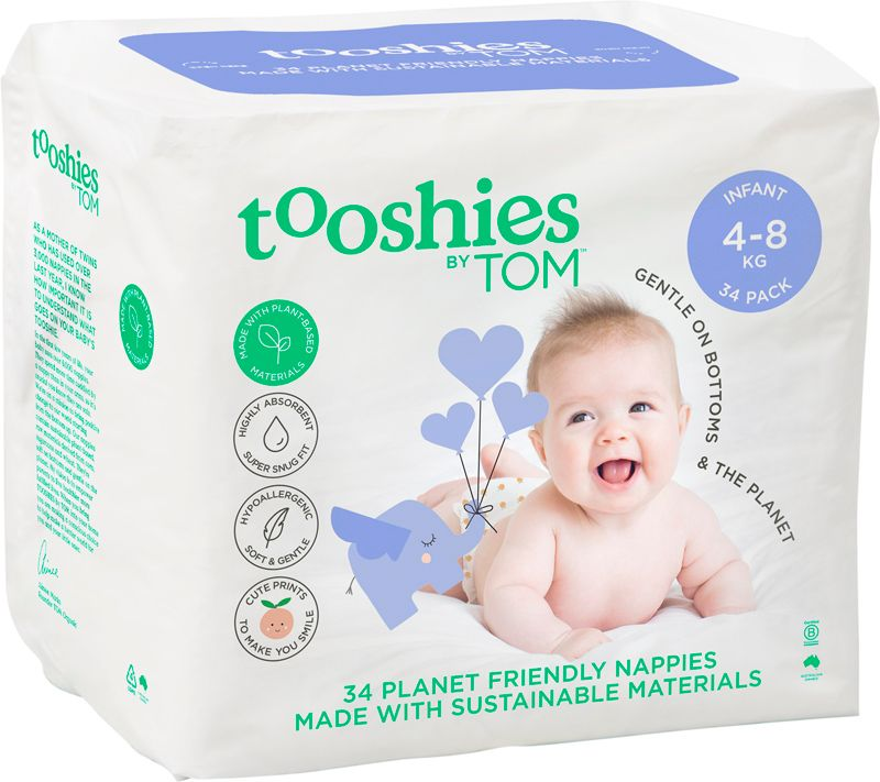 Tooshies by TOM Nappies Infant 4-8kg (34 Pack)