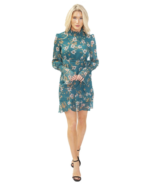 Dark Green Chiffon Mini Dress With Floral Print