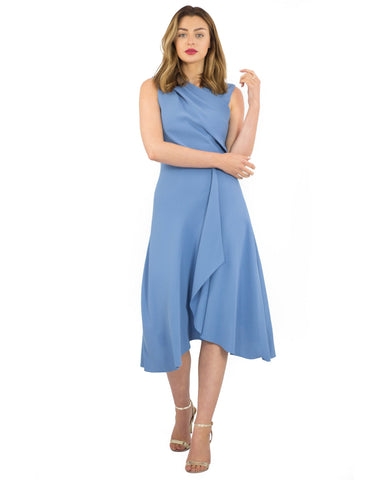 Reiss Blue Wrap Front Midi Dress