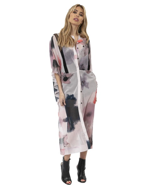 Religion Floral Maxi Dress With Front Button Detail