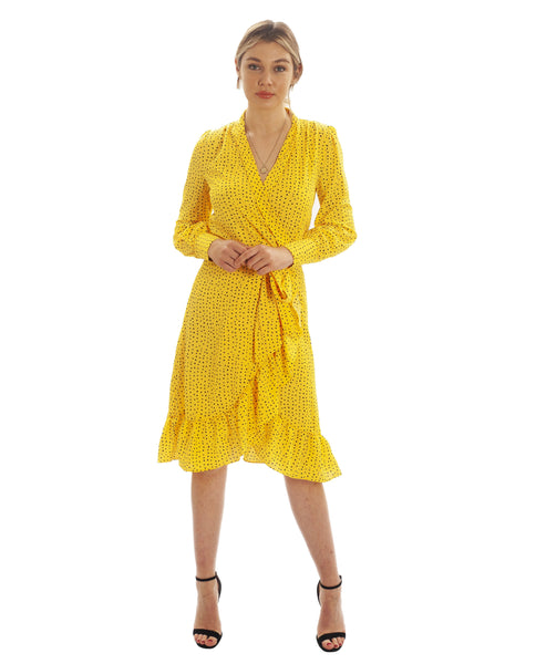 Yellow Speckle Wrap Midi Dress