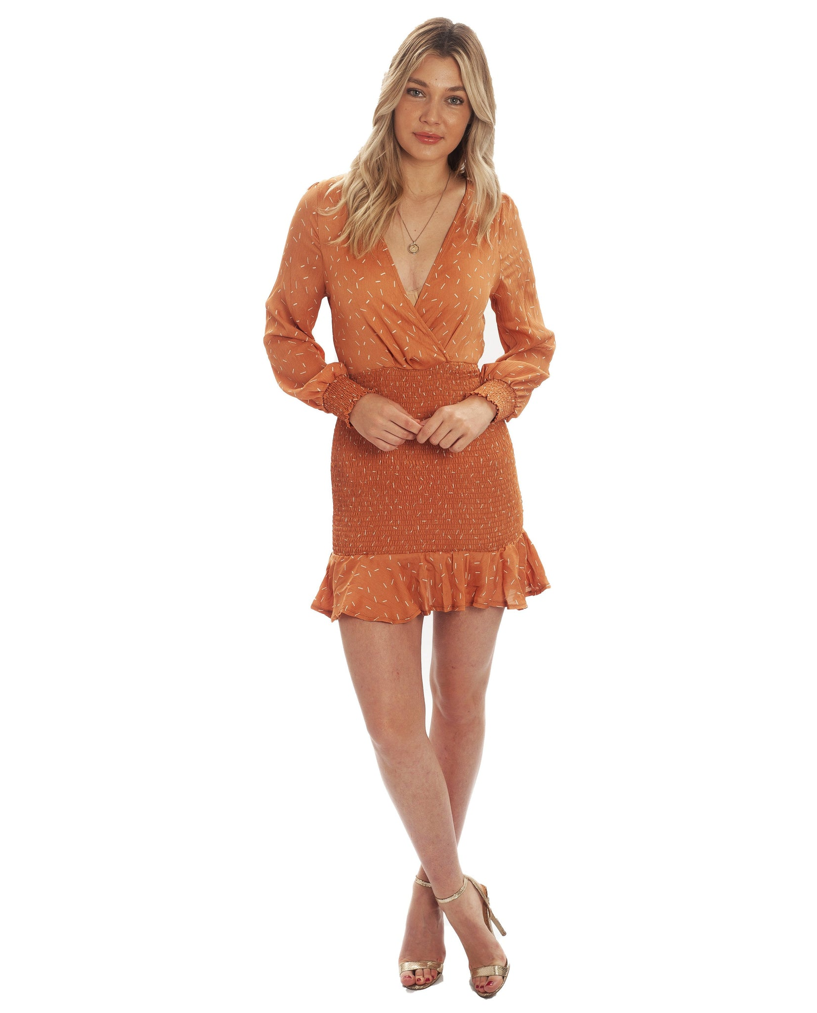 Orange Speckle Mini Dress