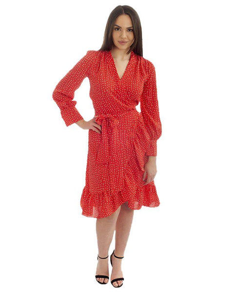 Red Speckle Wrap Midi Dress