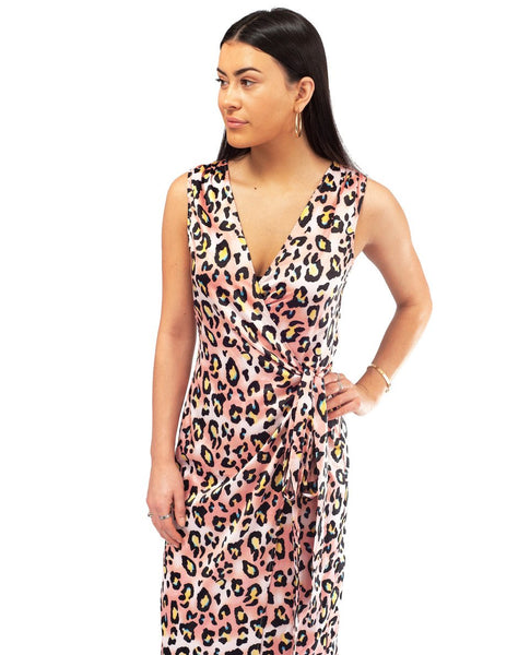 Never Fully Dressed Pink Leopard Print Midi