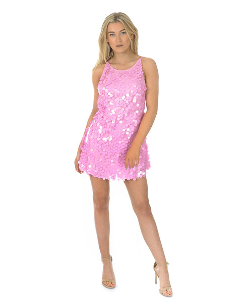 Motel Candy Pink Sequin High Necked Mini Dress
