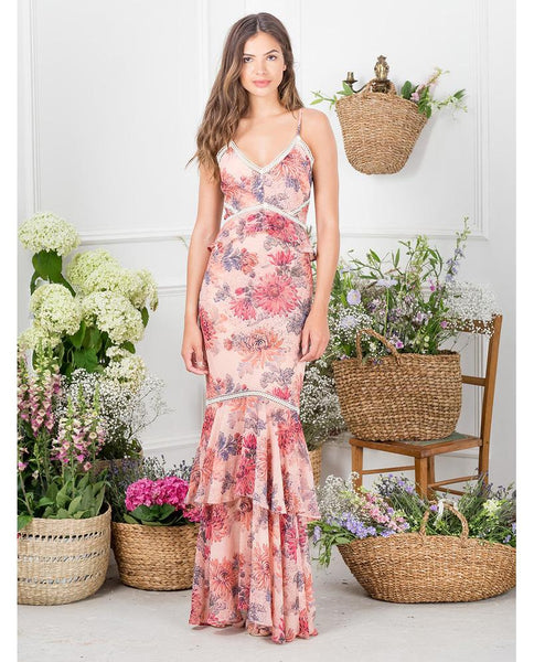 Hope & Ivy Floral Print Ruffle Maxi Dress