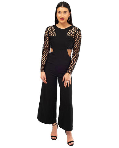 Black Lace Sleeve Jumpsuit With Tie Back