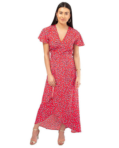 Dancing Leopard Red Floral Wrap Midi Dress