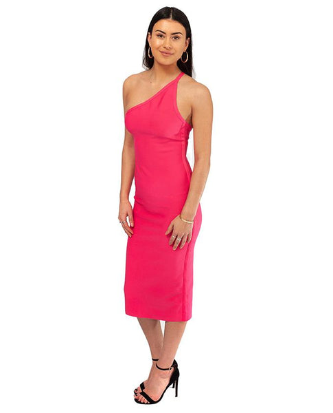 Pink Bodycon One Shoulder Midi Dress