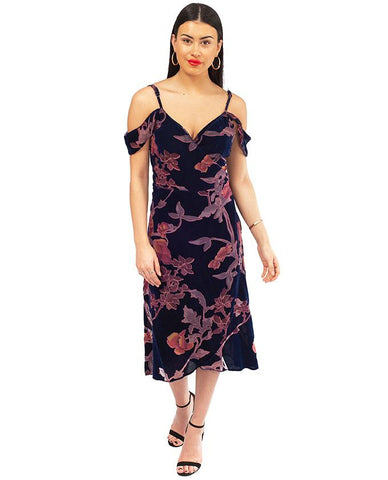 Never Fully Dressed Velvet Wrap Midi Dress