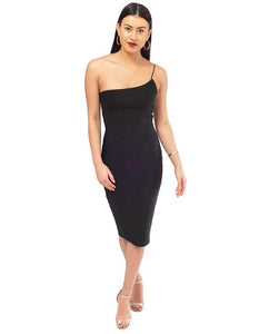 Black Bodycon One Shoulder Midi Dress