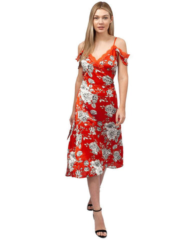 Never Fully Dressed Orange Floral Wrap Dress