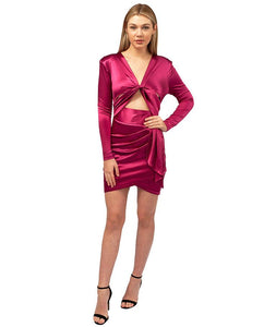 Pink Satin Mini Dress With Cut Out Front