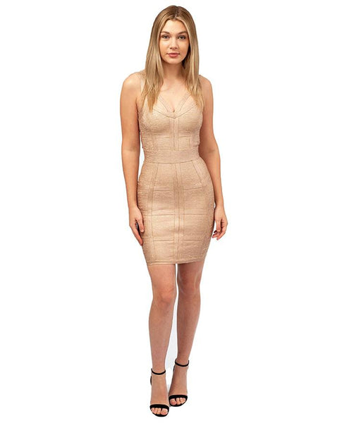 House Of CB Gold Structured Mini Dress