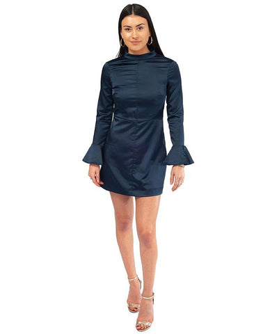 Long Sleeved Navy Satin Mini Dress