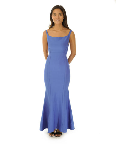Blue Bodycon Maxi Dress With Scoop Back