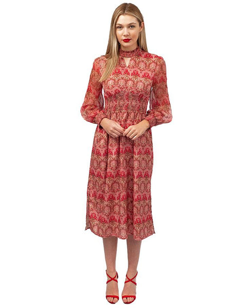 Red & Pink Print Midi Dress With Beaded Neck