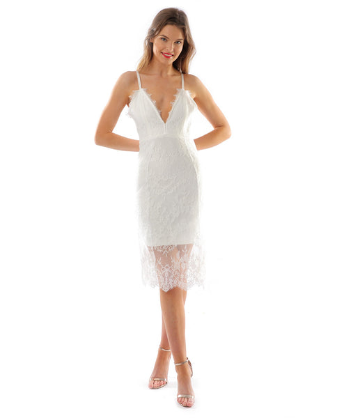 White Lace Bodycon Midi Dress