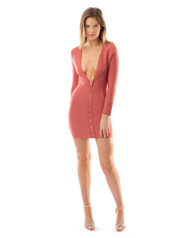 Zip Front Pink Bandage Dress With Plunging Neckline