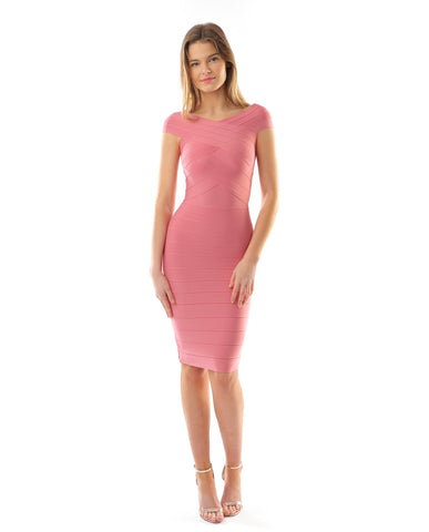 Off The Shoulder Pink Bodycon Midi Dress
