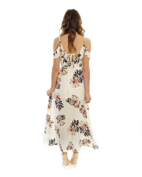 Cold Shoulder White Floral Wrap Maxi Dress