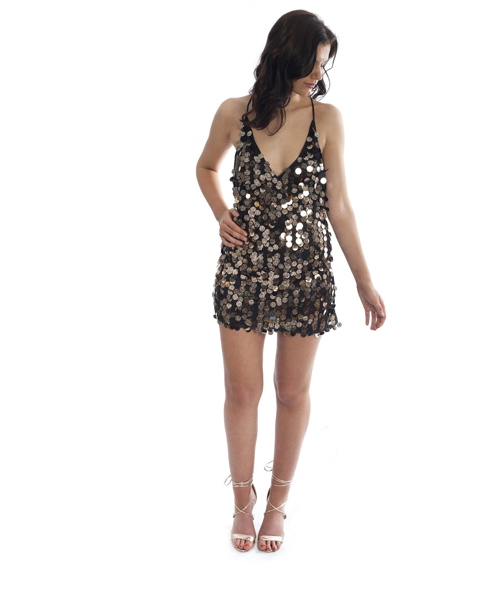 Motel Sequin Dress In Black & Gold