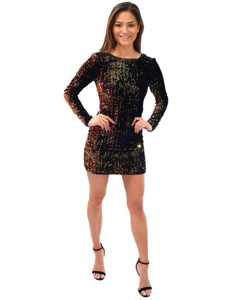 Motel Gabriella Long Sleeve Sequin Dress