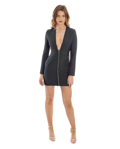 Zip Front Bandage Dress With Plunging Neckline