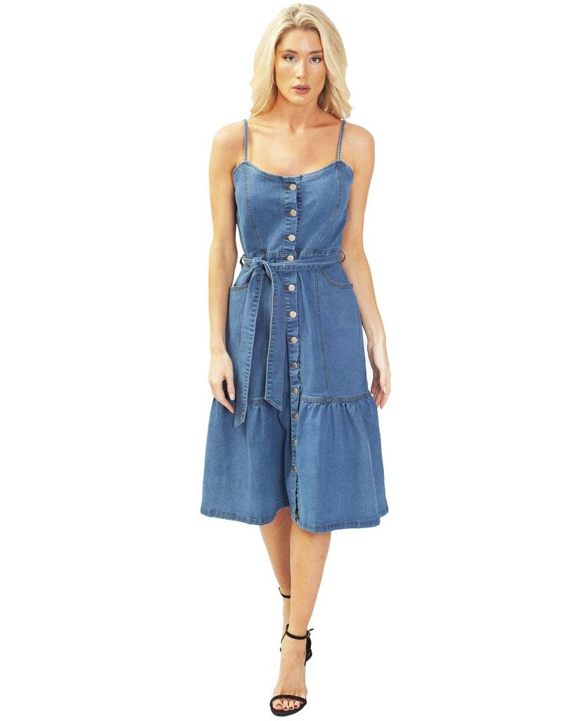 Denim Midi Dress With Belt Detail